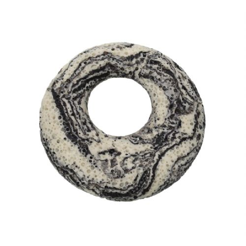 "1 (Grade A)Round Natural Lava Rock  Pendants with Black Stripe Pattern 5.1cm(2"") Dia."